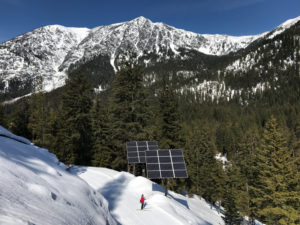 Solar panels and skier