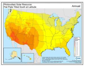 US Solar Insolation Map